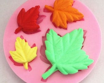 silicone leaf mold, maple leaf mold  fondant mold, gum-paste mold, candy mold, chocolate mold, cake mold, polymer clay mold, resin mold