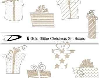 8 gold glitter gift boxes clipart- Present Boxes Clipart - Birthday Holidays Christmas gift boxes clipart - 9 gold glitter clipart