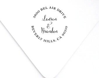 Round Address Stamp, Return Address Stamp, Circle Address Stamp, Address Stamp, Custom Stamp, Self Inking Stamp, Wedding Stamp