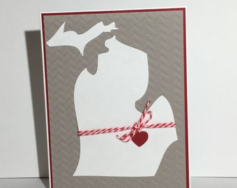 Michigan Notecard, state, embossed, blank, stationery