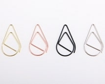 50 Tear Drop Paper Clips in 4 Colors - Gold, Silver, Rose Gold & Black