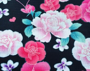 Multicolored Floral Rose and Heart Designed Black and Pink Fabric