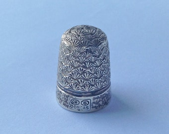 Charles Horner Silver & Steel Dorcas Thimble, CH5, late 1800s needlework accessories