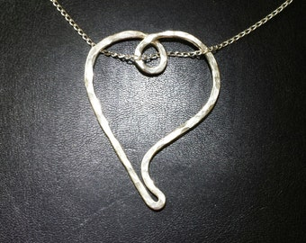 NEW! Handmade .925 Sterling Silver Hammered HEART Slide Pendant Necklace with Your Choice of Sterling Silver Chain!