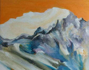 Abstract oil painting landscape mountains 24x30 orange blue texture