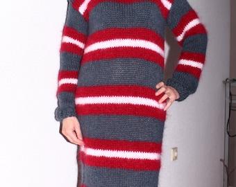 New Hand Knitted Mohair  Sexy Long Sweater,Handmade Dress,S-M-L