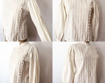 Vintage 90's Cotton Blouse w/ Pin tuck and puffy sleeves old west victorian style size S