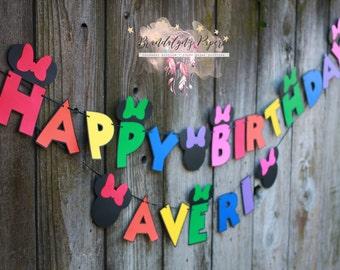 Minnie Mouse Happy Birthday banner, Minnie banner, Happy Birthday banner