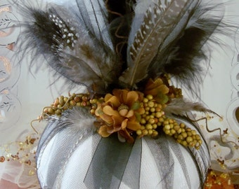 White Pumpkin, Fall Decor Centerpiece, Fall Bridal, Uptown Pumpkin, Handmade