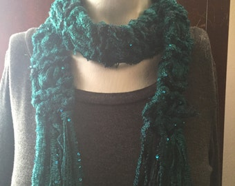 Deep Teal and Sequinned Scarf