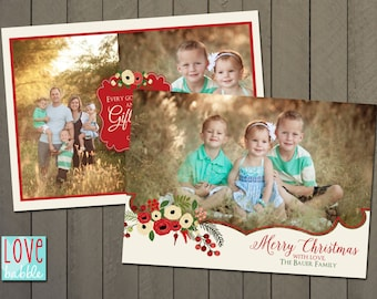 Christmas Holiday Photo Card, Religious, Christian, Multiple photos, PRINTABLE DIGITAL FILE - 5x7