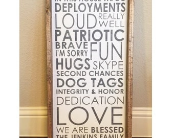 Custom (Military) Family Rules sign