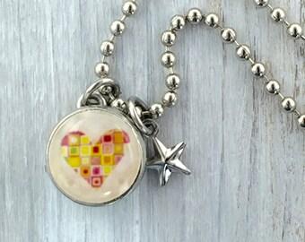 kids necklace, kids jewelry, heart charm, mosaic heart charm kids accessories, kids pendant, interchangeable Jewelry, photo jewelry