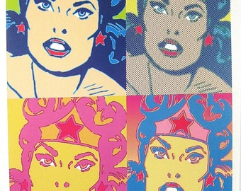 Vintage Woman Woman Andy Warhol Style Unframed Poster DC Comics