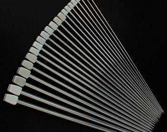 """Lot of 22 Pcs Stainless Steel Single Pointed Knitting Needles For Craft Weave Tool 11 Sizes 14"""" 36cm"""