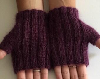 Hand knit fingerless gloves, lambswool fingerless gloves, purple texting gloves, purple fingerless gloves.
