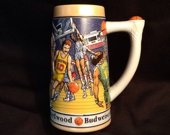 Budweiser Basketball Stein <> Sports Series <> Celebrates Basketball's 100th Anniversary <> 1991 <> MINT CONDITION