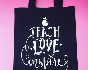 Teach love and inspire black and silver metallic teacher gift tote bag