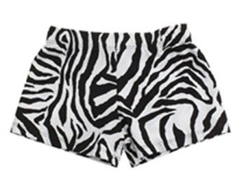 Ready to Ship. Basic Dance, Cheer, Gym, Workout Booty Shorts Solid Zebra