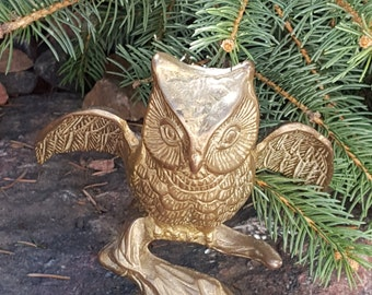 Brass Winged Owl~Vintage Owl Sculpture~Lifelike Owl on a Limb w/ Spread Wings~Very Nice Cast Brass Bird~Woodland Creature~JewelsandMetals.