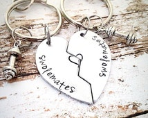 Swole mates keychain, Weight lifting keychain, Exercise keychain, Fitiness keychain, Gym buddies, Hand stamped Keychains