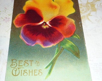 on sale Pretty Pansy Best Wishes Antique Postcard