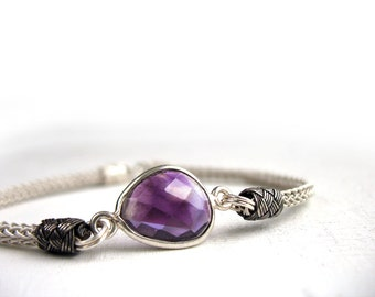 Elegant Amethyst, Traditional Viking Jewellery, Wire Crochet Silver, Traditional Gemstone Gift, 999 Handmade, Hand Knit Bracelet