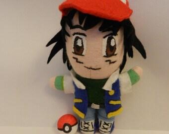 Ash Ketchum Pokémon Plushie Handmade Retro Gamer Geek