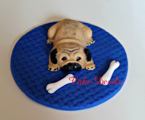 Fondant Pug Cake Topper Small Pug Cake Decorations Small