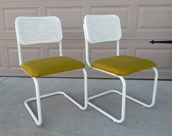 Vintage Marcel Breuer Cesca Chair/Refinished/Reupholstered/Apple Green Linen Upholstery/White Finish/Cane Back/Pair of Chairs/Set of Two
