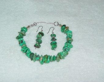 Genuine Turquoise Nugget Bracelet & Earrings Set