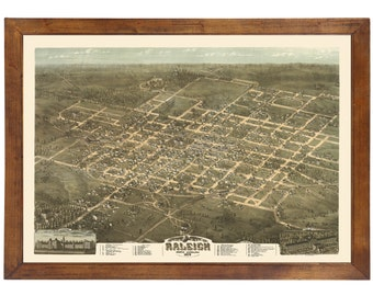 Raleigh, NC 1872 Bird's Eye View; 24x36 Print from a Vintage Lithograph