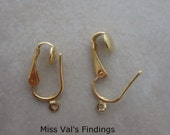 12 earclips findings gold plated pierced look clip on