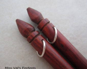 6 rosewood wood hair sticks beadable