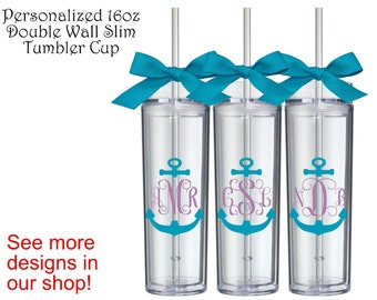 1 Personalized Anchor Monogram Slim Tumbler Cup,Monogram Gifts,Monogrammed Gift,Christmas Gift,Personalized Gift, Bridesmaid Gift,Anchor