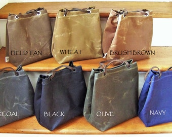 Lunch Tote / Waxed Canvas / Lunch Bag with Handles