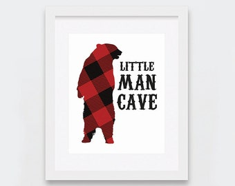 Little Man Cave Decor, Rustic Boy Cave Art Print, Outdoors Themed Boys Room, Red Flannel Outdoors Art Print, Woodland Art, Little Boys Room