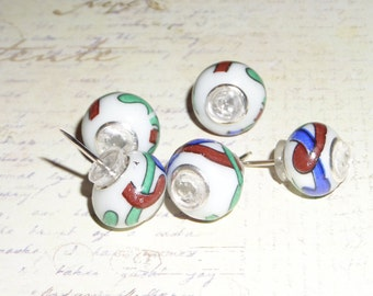 Glass big hole bead Push Pins , thumb tack, home decor, office decor, memory board, cork board