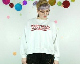 80s 90s Vintage EXPRESS Cropped White Sweatshirt, Big Logo Sweater, Medium Crew Neck Pullover Jumper