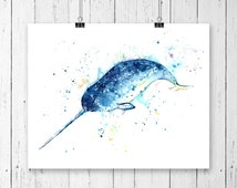 NARWHAL PRINT, narwhal art, narwhal watercolour, nursery decor, Unicorn of the sea, ocean art, ocean theme, ocean decor