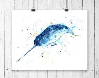 NARWHAL PRINT, narwhal art, narwhal watercolour, nursery decor, Unicorn of the sea, ocean art, ocean theme, ocean decor