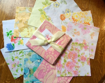 """Vintage Sheeting Charm Pack, 20 5x5"""" pre-cut Vintage Sheet Squares, Upcycled Fabric, Quilting Squares, Ready to Ship"""
