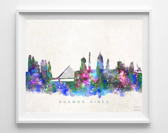Buenos Aires Skyline Print, Argentina Print, Bueno Aires Poster, Watercolor Art, Cityscape, Home Decor, Bed Room Decor, Back To School