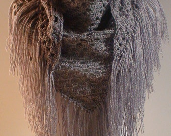 Triangle Shawl Triangle Scarf SOFT GRAY SHIMMER Hand Crochet