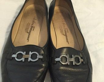 Ferragamo black leather shoes size 9.5M