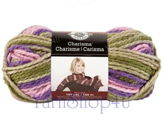 BOUQUET Bulky Charisma Loops and Threads Yarn. This Purple and Green Ombre Yarn is 3.5oz 109yds. A Chunky Thick Soft Acrylic Yarn.