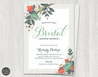 Vintage Floral Bridal Shower Brunch Invitation/ DIY/ Customized Printable