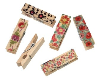 Assorted Colourful Flower Design Clothes pegs, 4.5cm x 14.0mm. Great for Note peg board, card making, art, embellishments and other craft