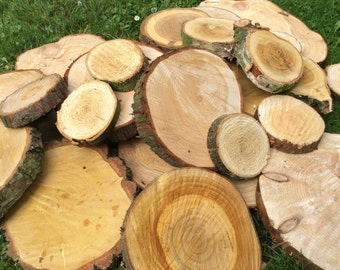 15x 20-25cm rustic log slices natural wood wedding centre piece cake stand tree trunk