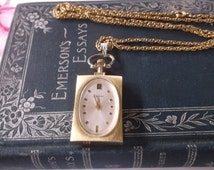Vintage Mid Century Watch Necklace by Endura, Classic Mid Century Styling Watch Necklace, Swiss Made Wind Up Watch Works on long Chain